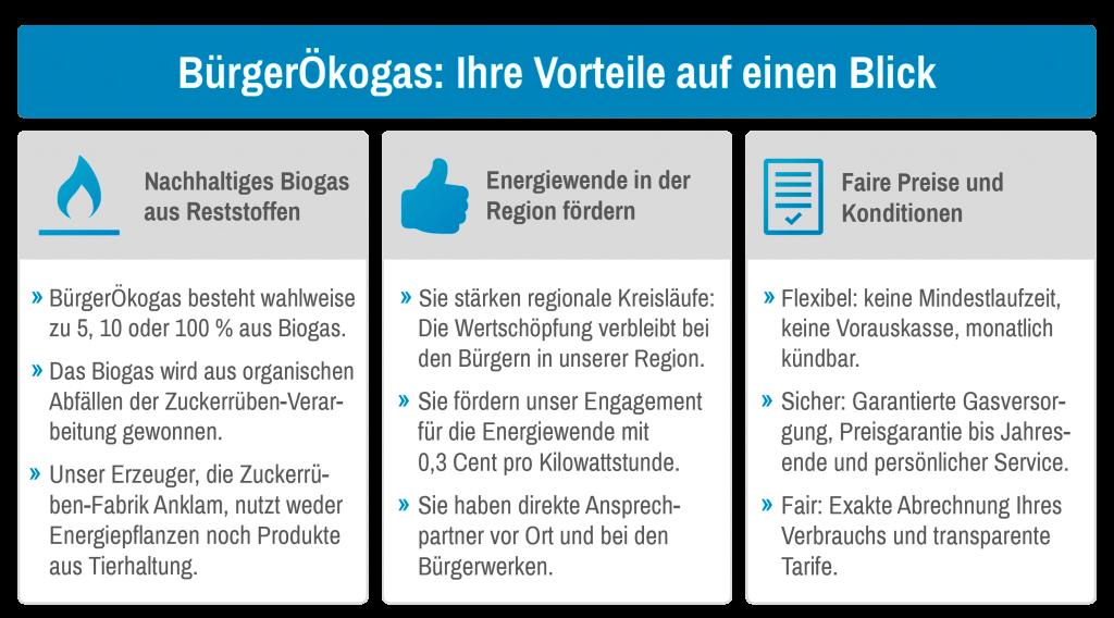 BürgerÖkogas: Ihre Vorteile auf einen Blick  Nachhaltiges Biogas aus Reststoffen  Energiewende in der Region fördern  Faire Preise und Konditionen